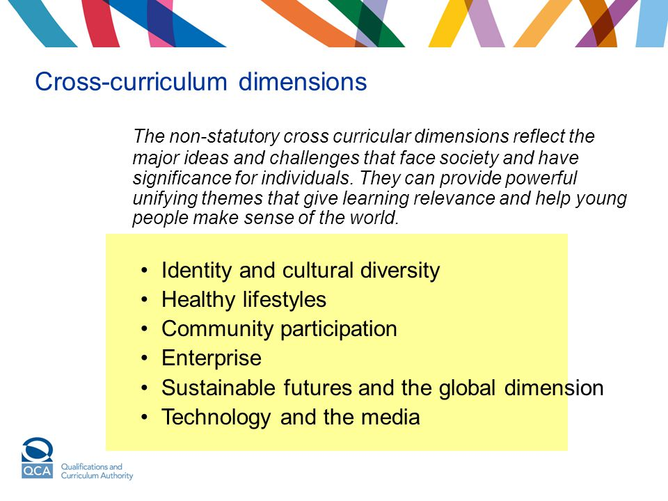 Cross-curriculum dimensions The non-statutory cross curricular dimensions reflect the major ideas and challenges that face society and have significan