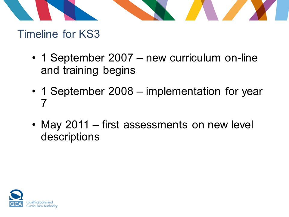 Timeline for KS3 1 September 2007 – new curriculum on-line and training begins 1 September 2008 – implementation for year 7 May 2011 – first assessmen