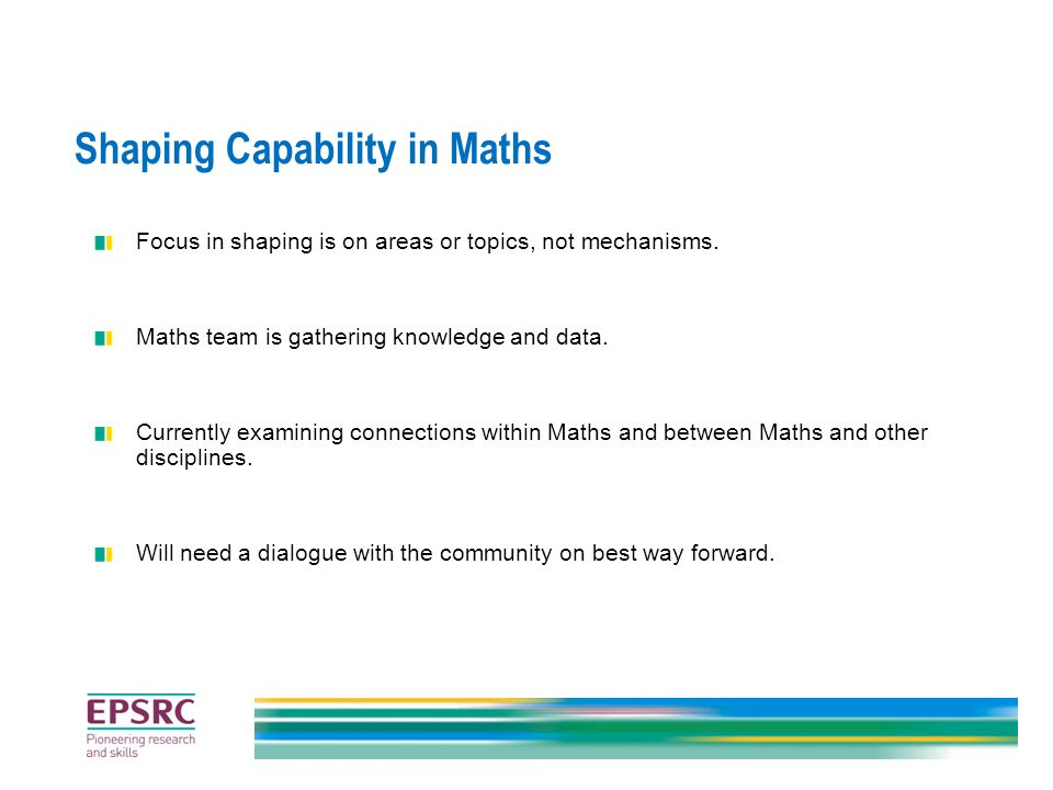 Shaping Capability in Maths Focus in shaping is on areas or topics, not mechanisms.