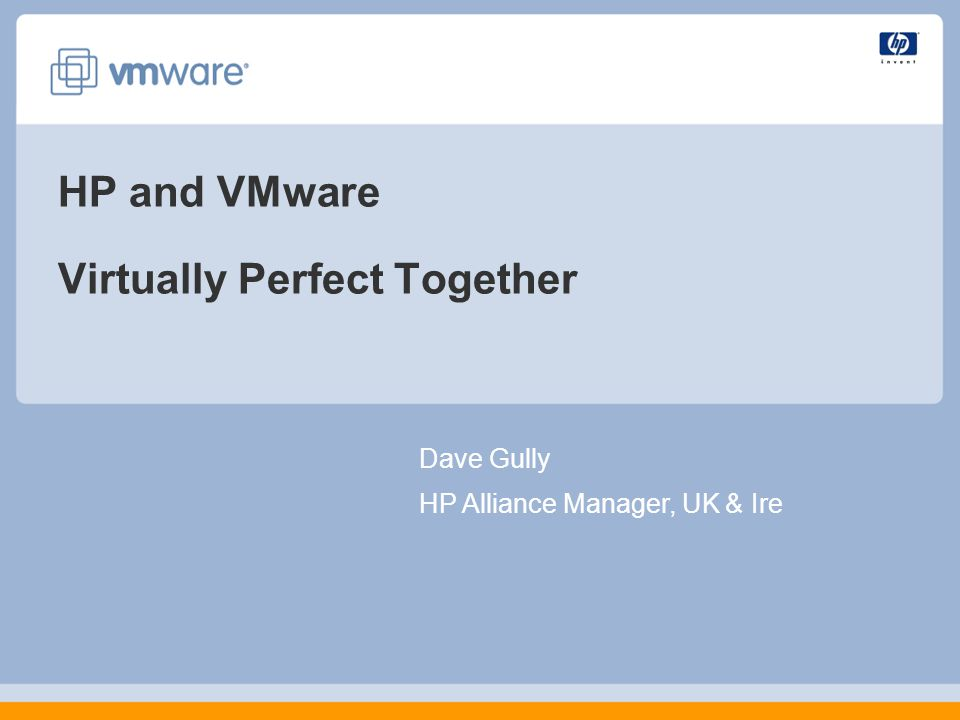 HP and VMware Virtually Perfect Together Dave Gully HP Alliance Manager, UK & Ire