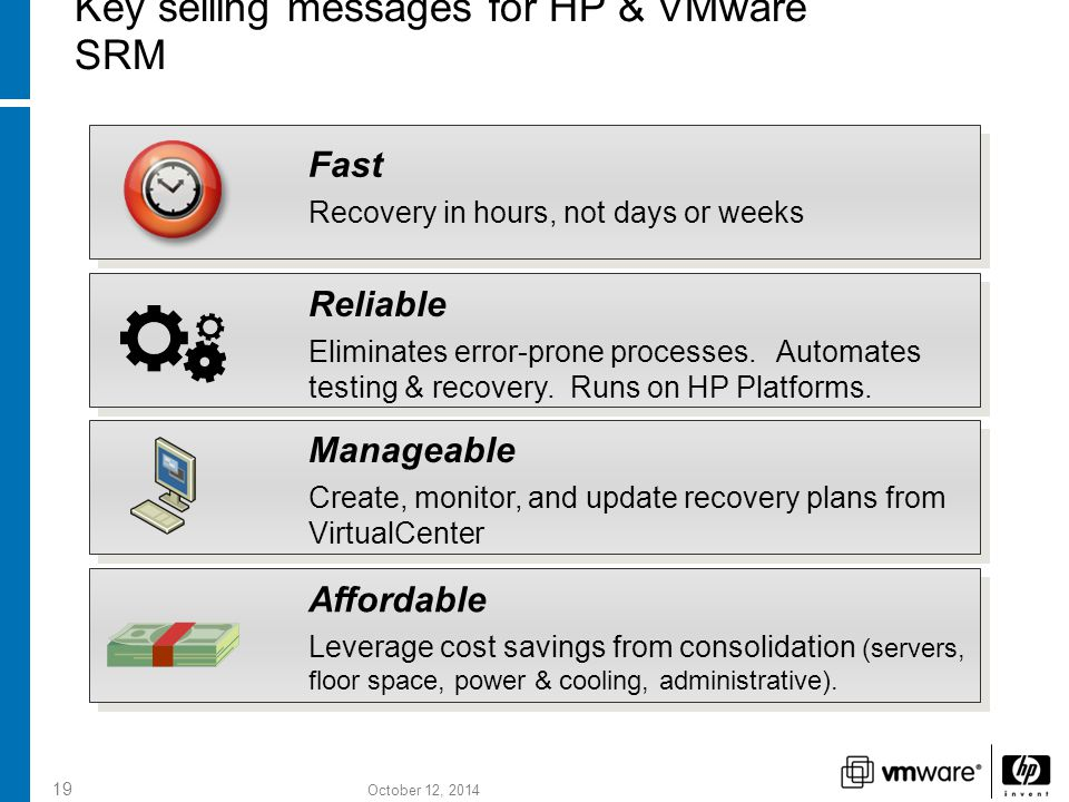 October 12, 2014 19 Key selling messages for HP & VMware SRM Fast Recovery in hours, not days or weeks Reliable Eliminates error-prone processes.