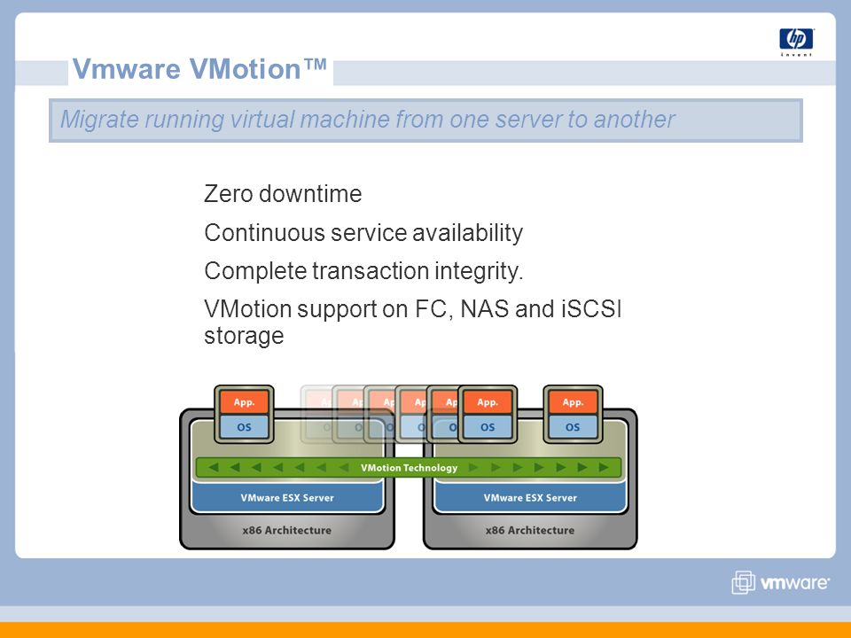 Vmware VMotion™ Migrate running virtual machine from one server to another Zero downtime Continuous service availability Complete transaction integrity.