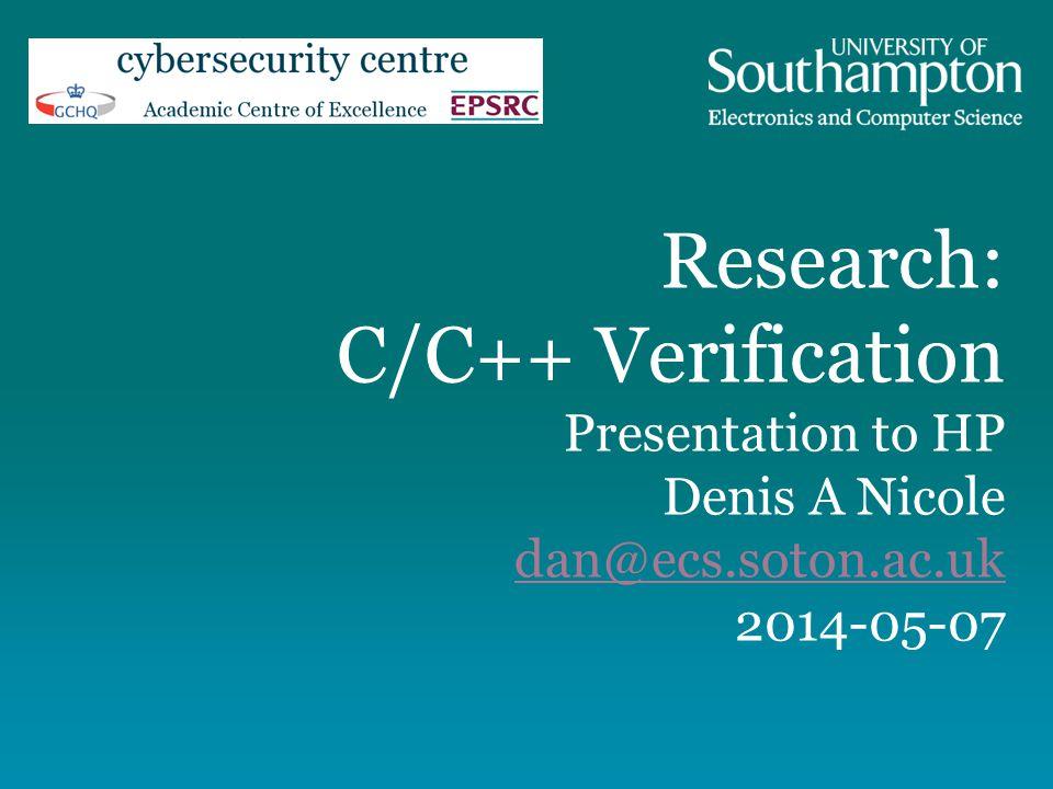 Research: C/C++ Verification Presentation to HP Denis A Nicole dan@ecs.soton.ac.uk 2014-05-07 dan@ecs.soton.ac.uk