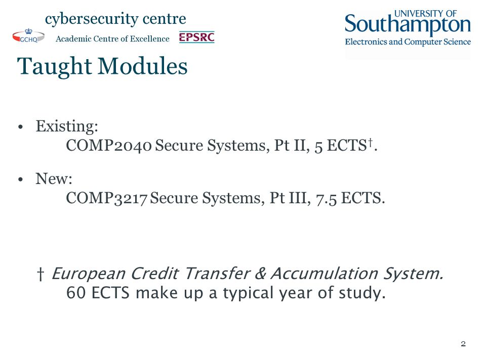 Taught Modules Existing: COMP2040 Secure Systems, Pt II, 5 ECTS †.