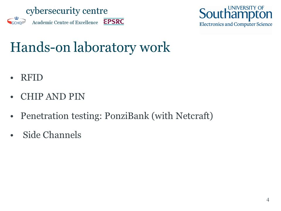 Hands-on laboratory work RFID CHIP AND PIN Penetration testing: PonziBank (with Netcraft) Side Channels 4