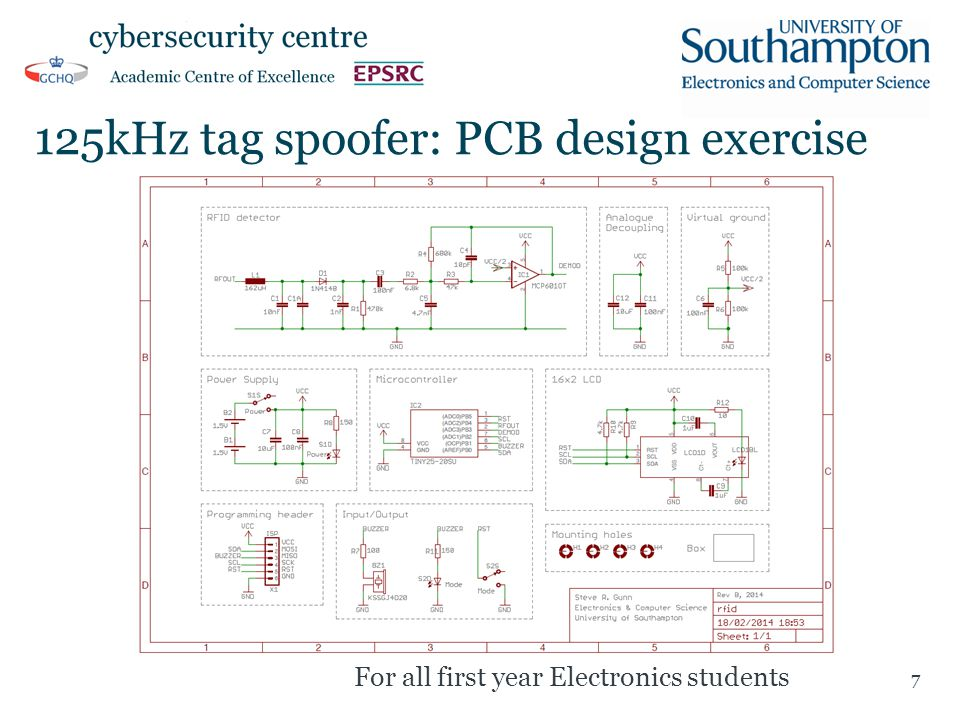 125kHz tag spoofer: PCB design exercise 7 For all first year Electronics students