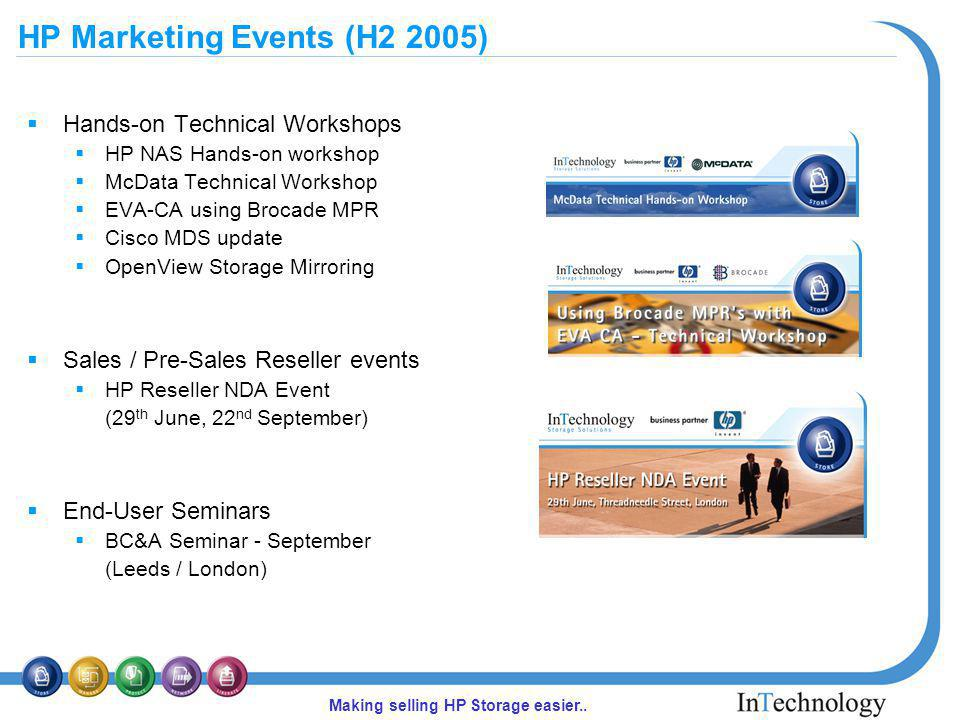 HP Marketing Events (H2 2005)  Hands-on Technical Workshops  HP NAS Hands-on workshop  McData Technical Workshop  EVA-CA using Brocade MPR  Cisco MDS update  OpenView Storage Mirroring  Sales / Pre-Sales Reseller events  HP Reseller NDA Event (29 th June, 22 nd September)  End-User Seminars  BC&A Seminar - September (Leeds / London) Making selling HP Storage easier..