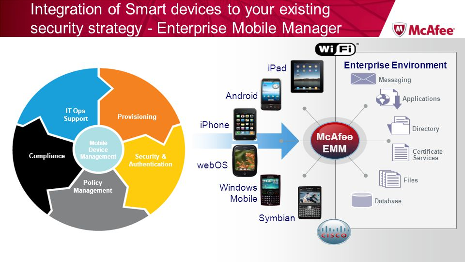 Integration of Smart devices to your existing security strategy - Enterprise Mobile Manager Database Files Directory Applications Certificate Services