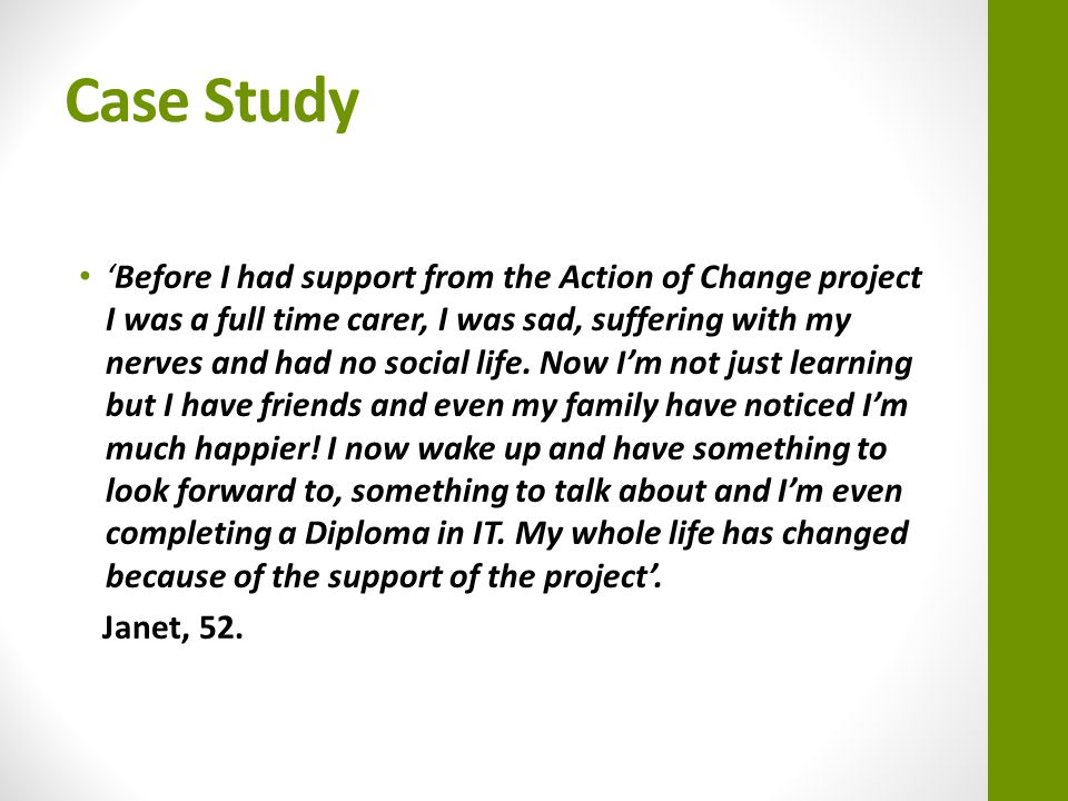 Participants Journey… This is a short film on our Action for Change project: http://www.youtube.com/watch?v=Fp03M_M9v4s