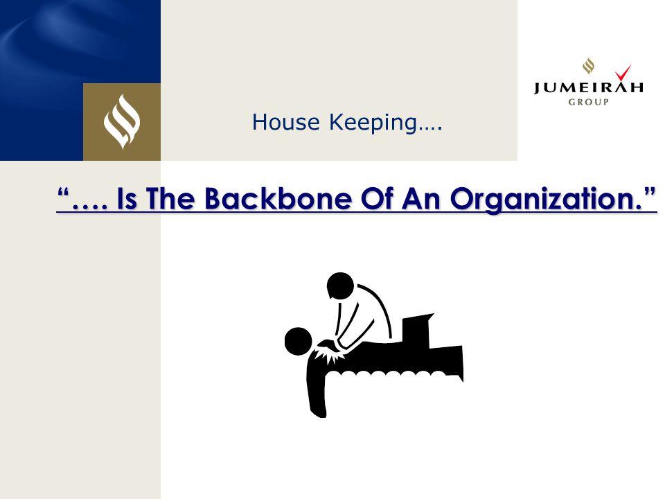 "House Keeping…. ""…. Is The Backbone Of An Organization."""