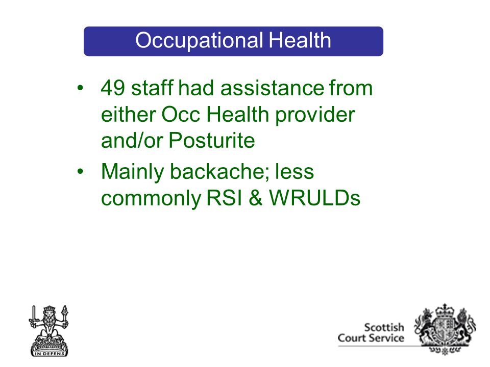 49 staff had assistance from either Occ Health provider and/or Posturite Mainly backache; less commonly RSI & WRULDs Occupational Health