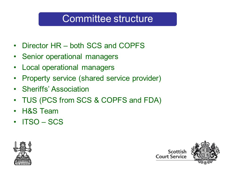 Director HR – both SCS and COPFS Senior operational managers Local operational managers Property service (shared service provider) Sheriffs' Association TUS (PCS from SCS & COPFS and FDA) H&S Team ITSO – SCS Committee structure