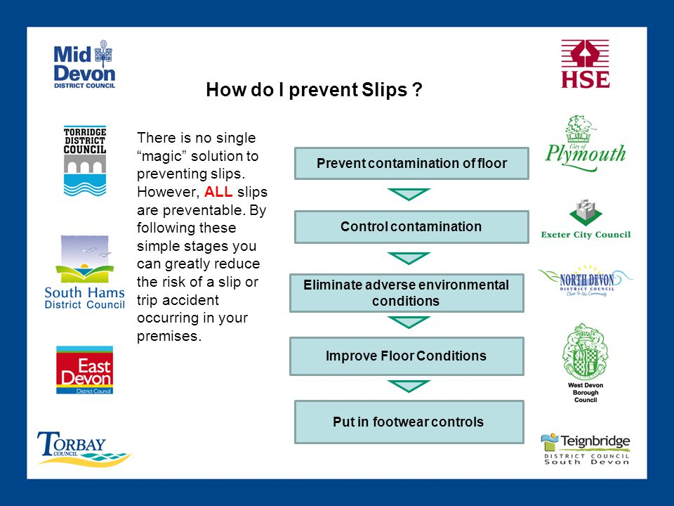 How do I prevent Slips ? Prevent contamination of floor Control contamination Eliminate adverse environmental conditions Improve Floor Conditions Put