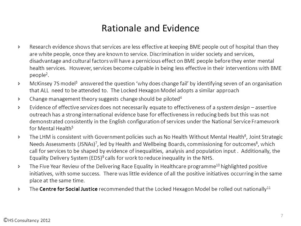 Rationale and Evidence  Research evidence shows that services are less effective at keeping BME people out of hospital than they are white people, once they are known to service.