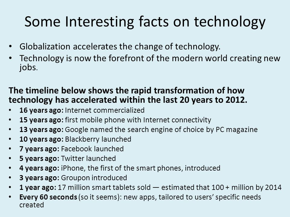 Some Interesting facts on technology Globalization accelerates the change of technology.
