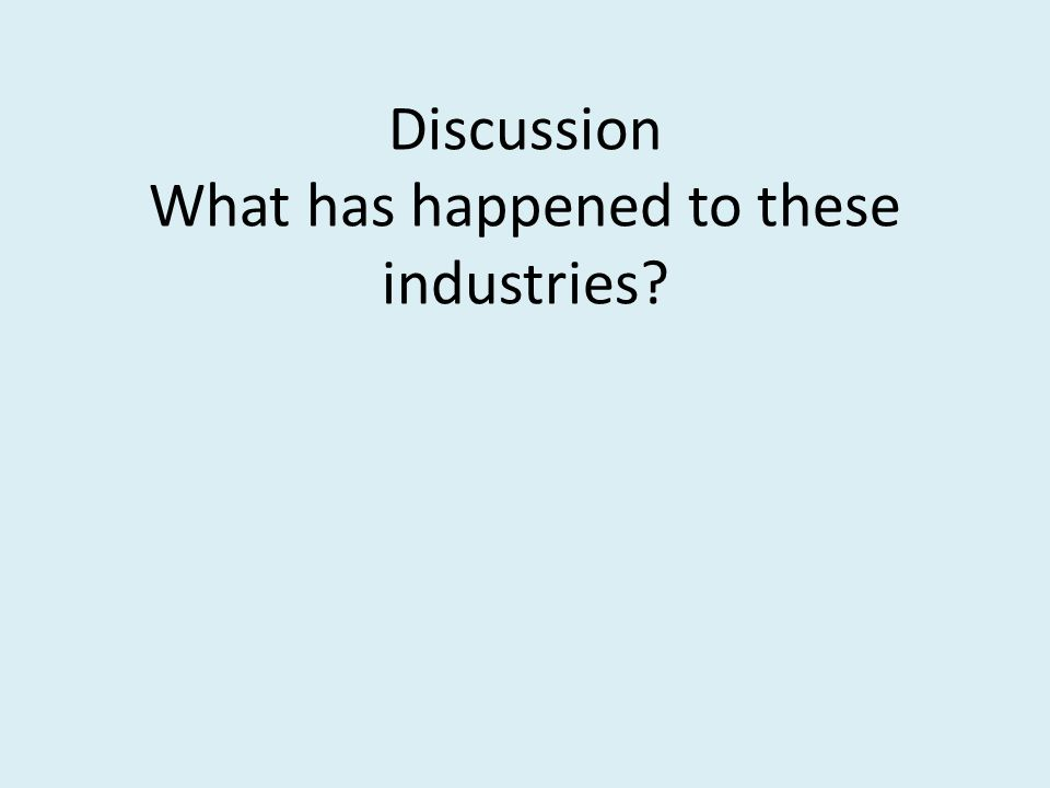Discussion What has happened to these industries