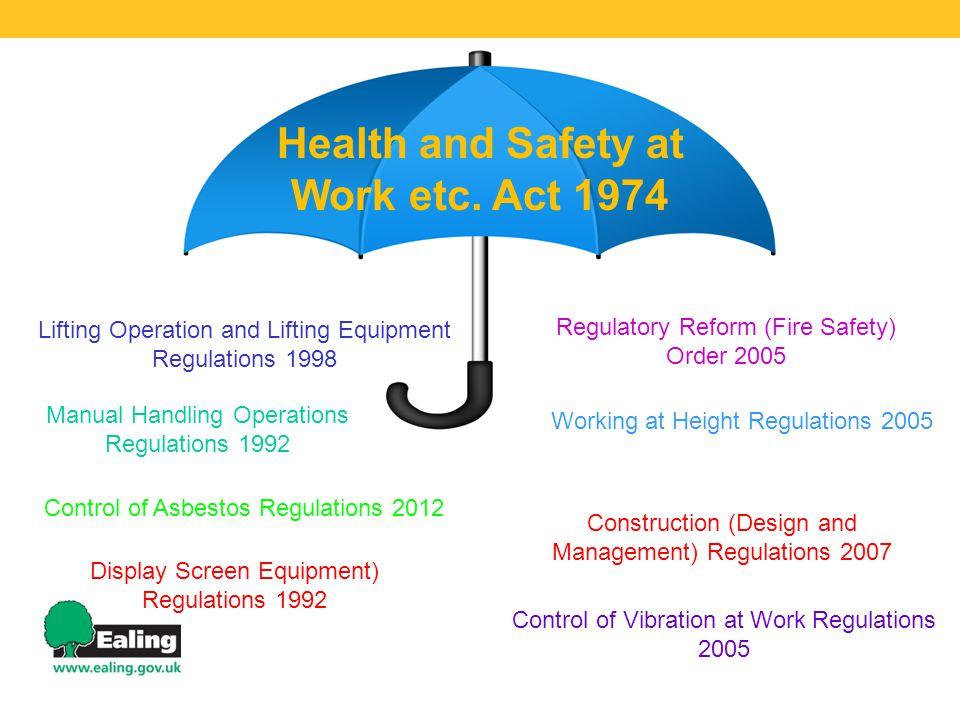 Manual Handling Operations Regulations 1992 Lifting Operation and Lifting Equipment Regulations 1998 Control of Asbestos Regulations 2012 Display Scre