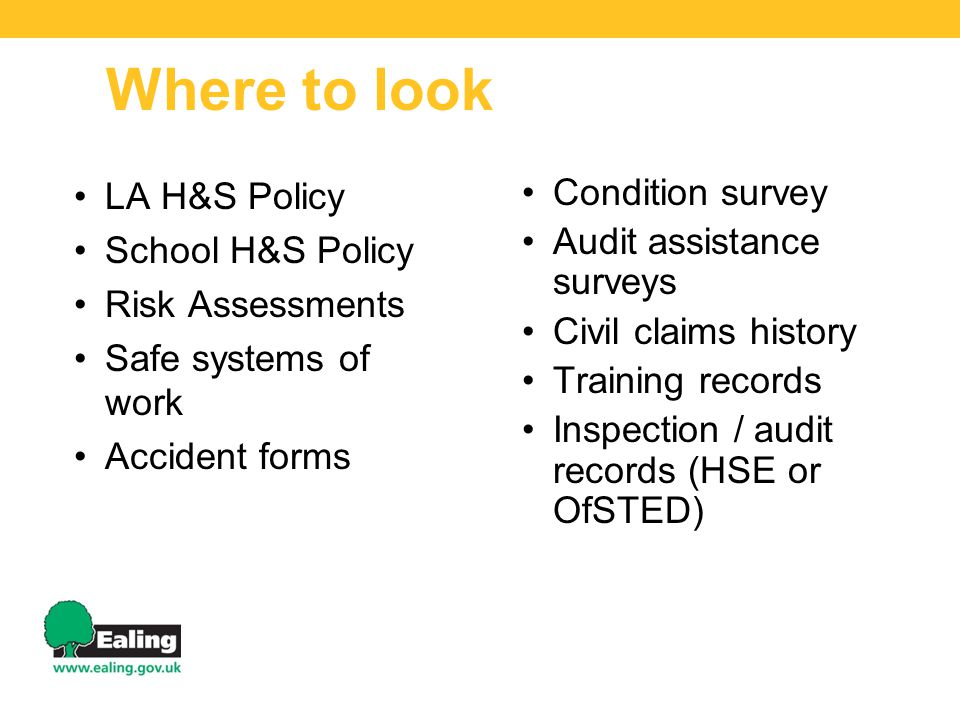 LA H&S Policy School H&S Policy Risk Assessments Safe systems of work Accident forms Condition survey Audit assistance surveys Civil claims history Tr