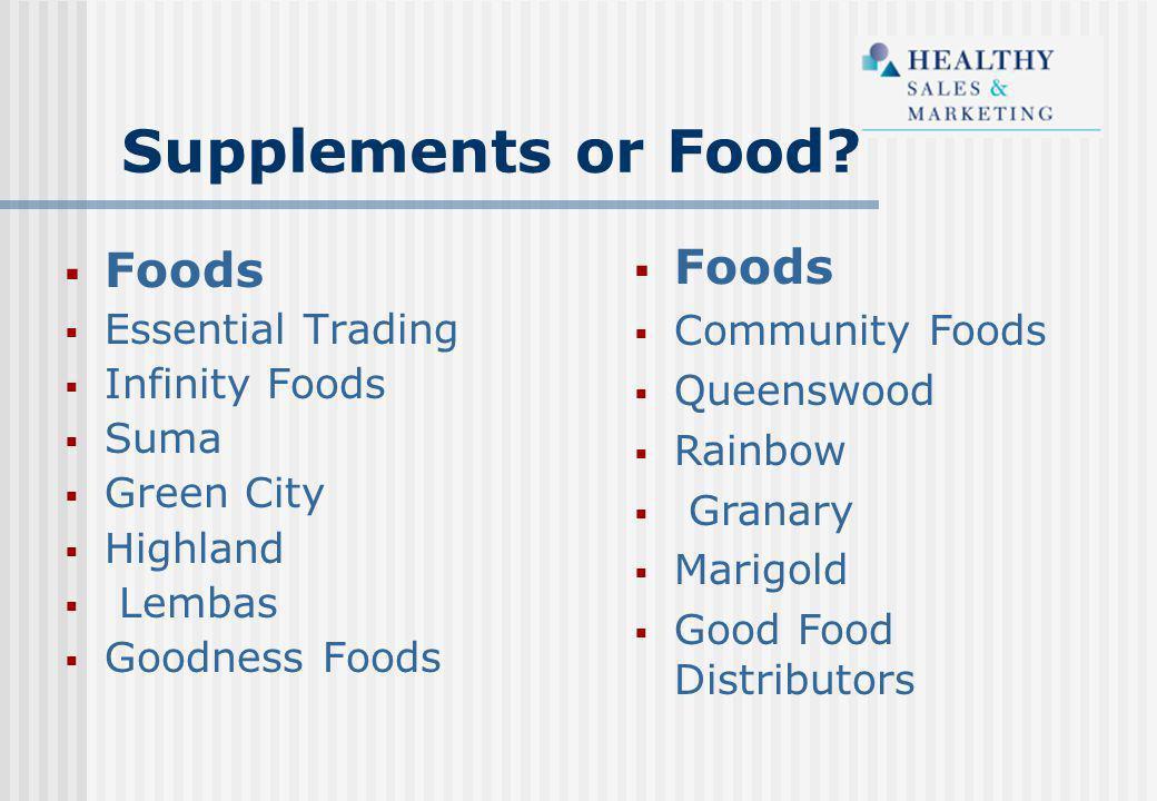 Supplements or Food?  Foods  Community Foods  Queenswood  Rainbow  Granary  Marigold  Good Food Distributors  Foods  Essential Trading  Infi