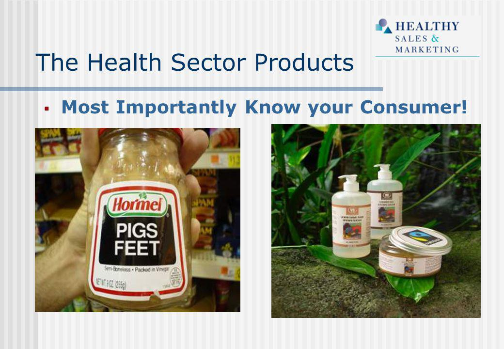 The Health Sector Products  Most Importantly Know your Consumer!