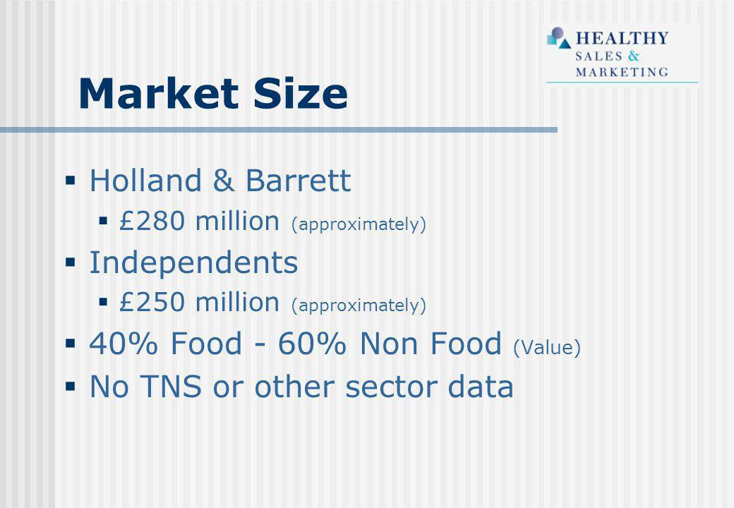  Holland & Barrett  £280 million (approximately)  Independents  £250 million (approximately)  40% Food - 60% Non Food (Value)  No TNS or other sector data Market Size