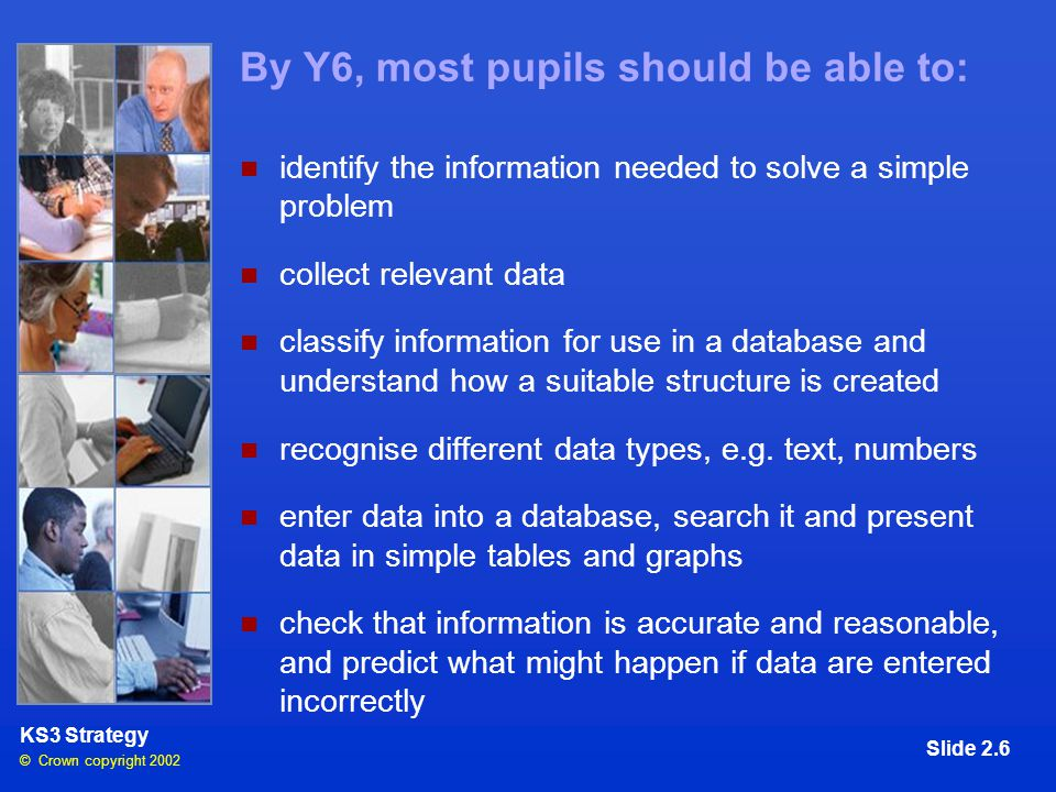 © Crown copyright 2002 KS3 Strategy Slide 2.6 By Y6, most pupils should be able to: identify the information needed to solve a simple problem collect relevant data classify information for use in a database and understand how a suitable structure is created recognise different data types, e.g.