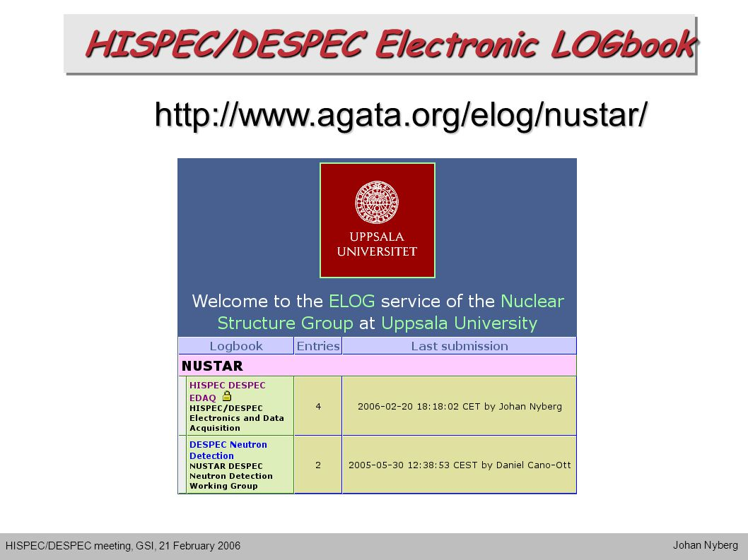 HISPEC/DESPEC Electronic LOGbook HISPEC/DESPEC meeting, GSI, 21 February 2006 Johan Nyberg http://www.agata.org/elog/nustar/