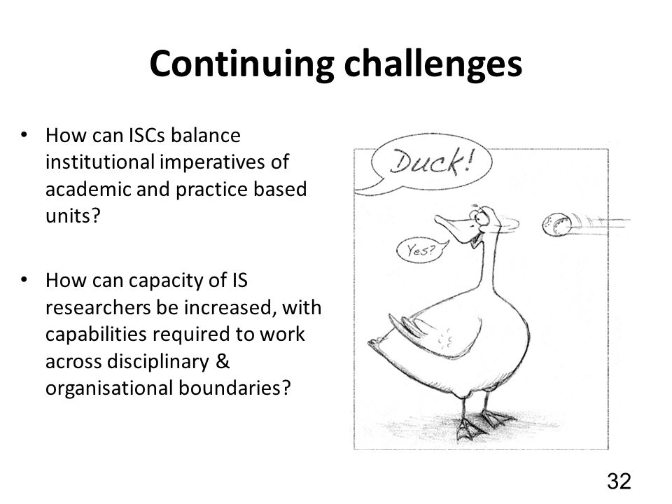 Continuing challenges How can ISCs balance institutional imperatives of academic and practice based units.