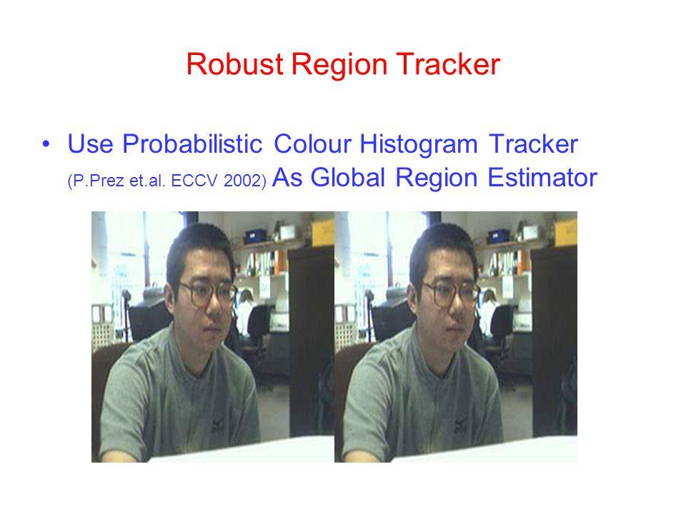 Robust Region Tracker Use Probabilistic Colour Histogram Tracker (P.Prez et.al. ECCV 2002) As Global Region Estimator