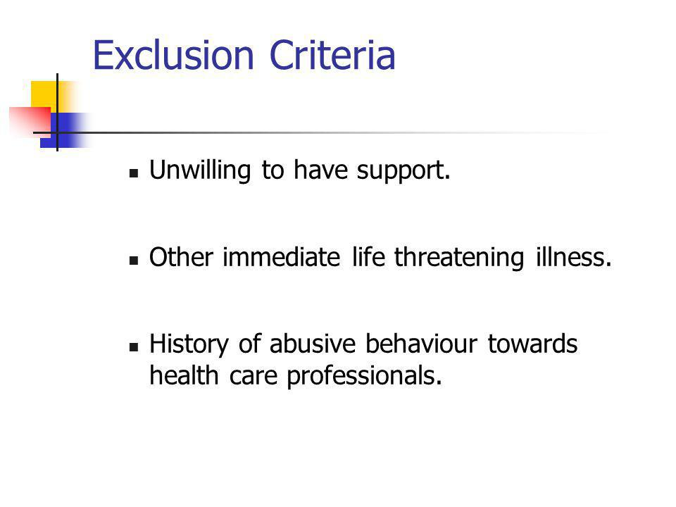 Exclusion Criteria Unwilling to have support. Other immediate life threatening illness. History of abusive behaviour towards health care professionals