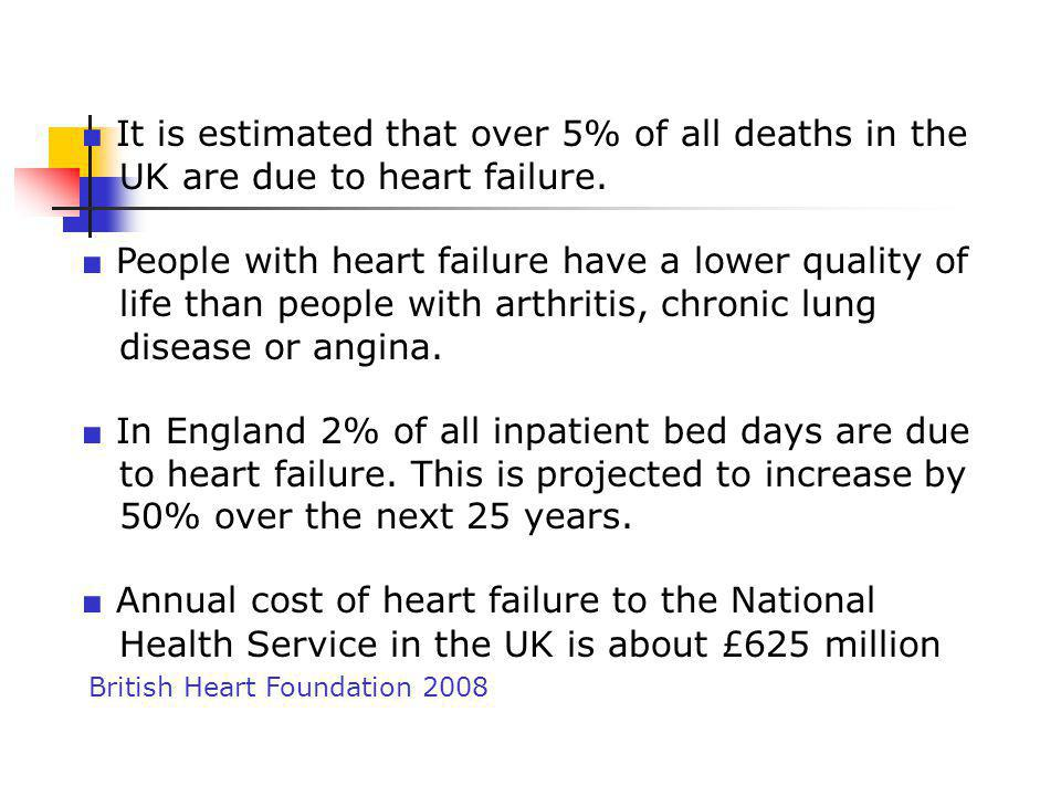 ■ It is estimated that over 5% of all deaths in the UK are due to heart failure. ■ People with heart failure have a lower quality of life than people