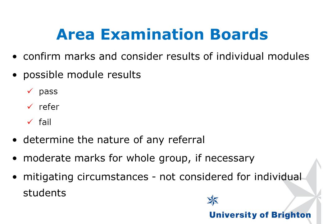 Area Examination Boards confirm marks and consider results of individual modules possible module results pass refer fail determine the nature of any r