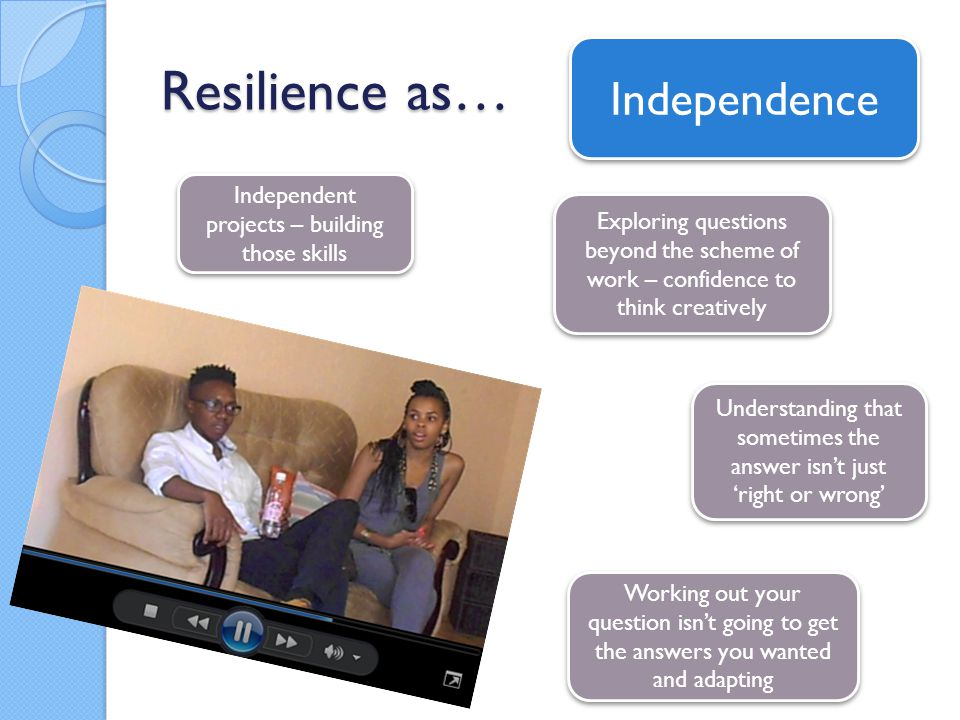 Resilience as… Independent projects – building those skills Exploring questions beyond the scheme of work – confidence to think creatively Understandi