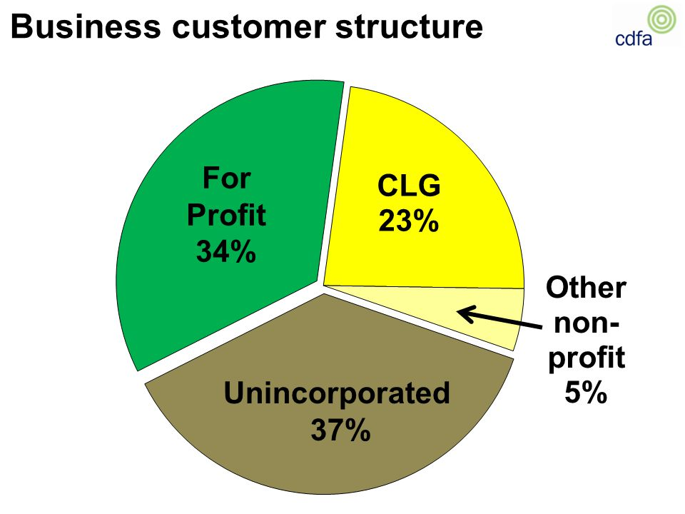 Business customer structure Unincorporated 37% For Profit 34%