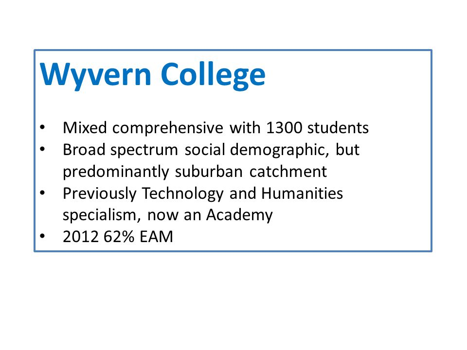 Wyvern College Mixed comprehensive with 1300 students Broad spectrum social demographic, but predominantly suburban catchment Previously Technology and Humanities specialism, now an Academy 2012 62% EAM