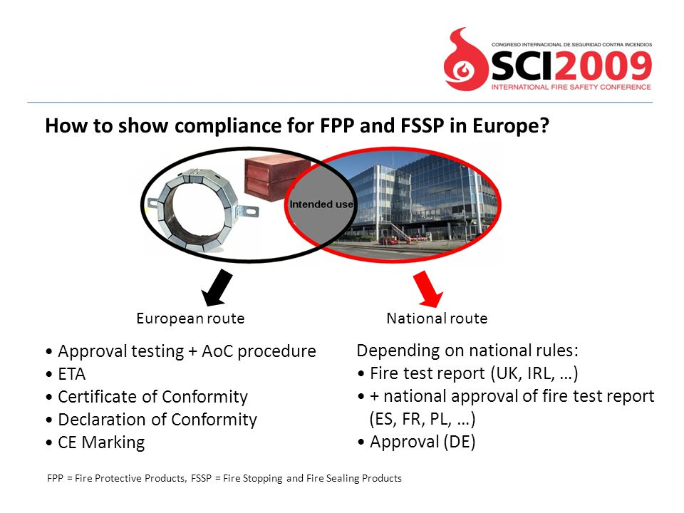 How to show compliance for FPP and FSSP in Europe? FPP = Fire Protective Products, FSSP = Fire Stopping and Fire Sealing Products European route Natio