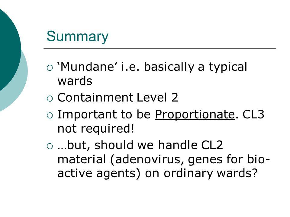 Summary  'Mundane' i.e.