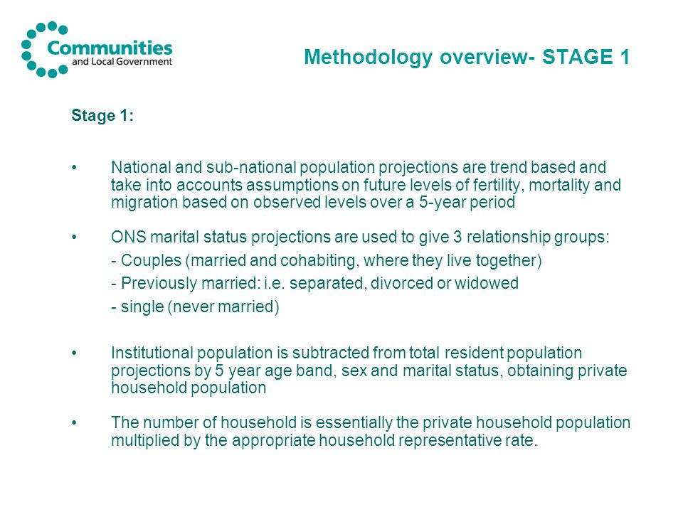 Methodology overview- STAGE 1 Stage 1: National and sub-national population projections are trend based and take into accounts assumptions on future levels of fertility, mortality and migration based on observed levels over a 5-year period ONS marital status projections are used to give 3 relationship groups: - Couples (married and cohabiting, where they live together) - Previously married: i.e.