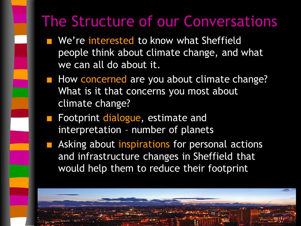 The Structure of our Conversations n We're interested to know what Sheffield people think about climate change, and what we can all do about it.