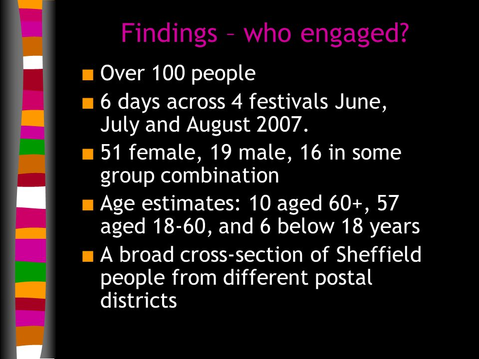 Findings – who engaged. n Over 100 people n 6 days across 4 festivals June, July and August 2007.