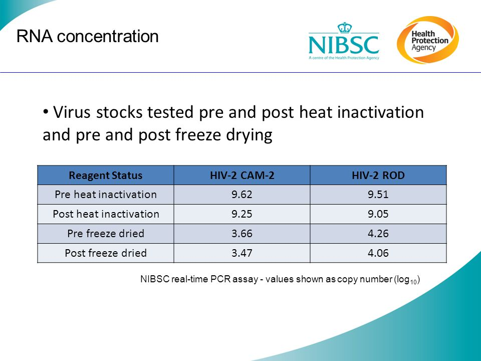 RNA concentration Reagent StatusHIV-2 CAM-2HIV-2 ROD Pre heat inactivation9.629.51 Post heat inactivation9.259.05 Pre freeze dried3.664.26 Post freeze dried3.474.06 Virus stocks tested pre and post heat inactivation and pre and post freeze drying NIBSC real-time PCR assay - values shown as copy number (log 10 )