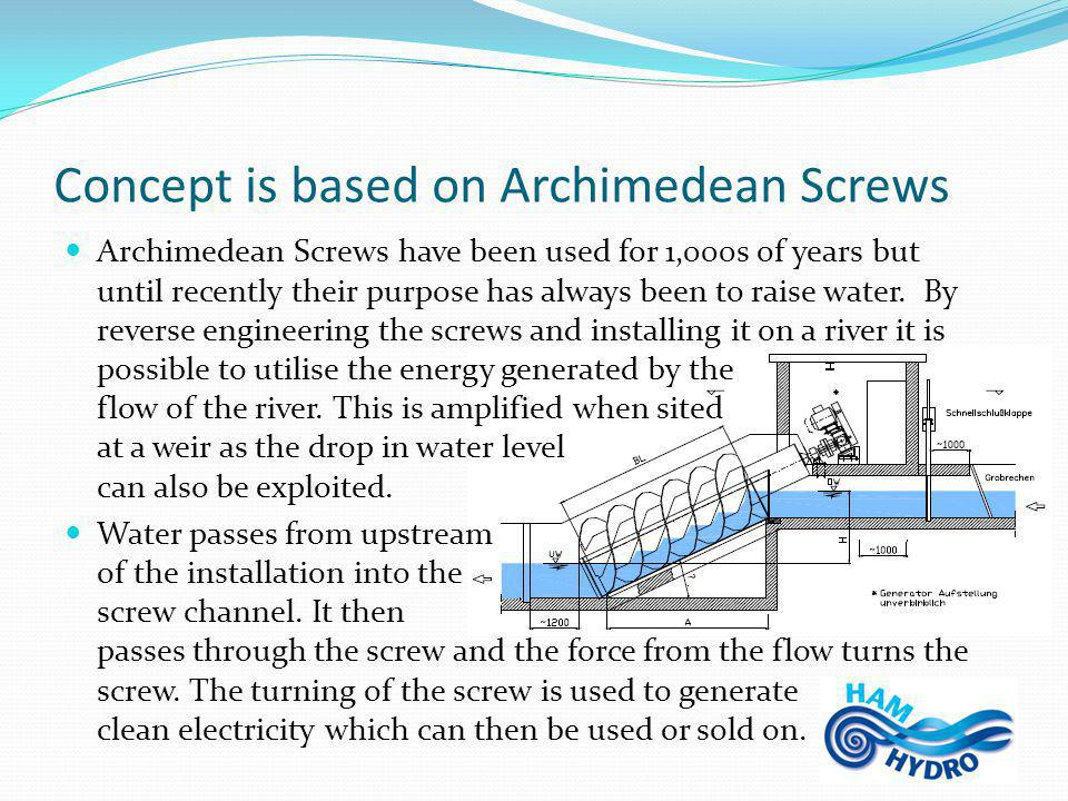 Concept is based on Archimedean Screws Archimedean Screws have been used for 1,000s of years but until recently their purpose has always been to raise water.