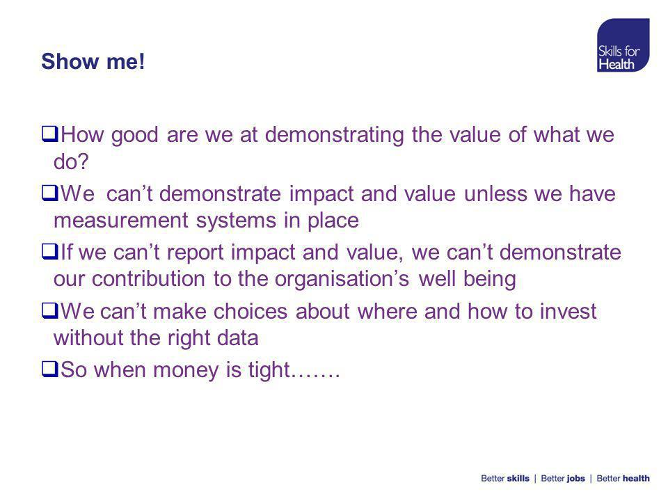 Show me.  How good are we at demonstrating the value of what we do.