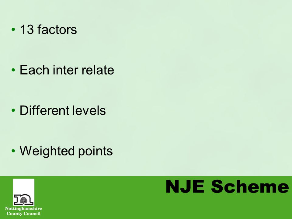 NJE Scheme 13 factors Each inter relate Different levels Weighted points