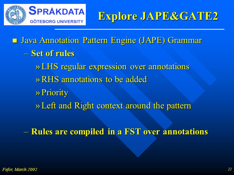 21 Fefor, March 2002 Explore JAPE&GATE2 n Java Annotation Pattern Engine (JAPE) Grammar –Set of rules »LHS regular expression over annotations »RHS annotations to be added »Priority »Left and Right context around the pattern –Rules are compiled in a FST over annotations