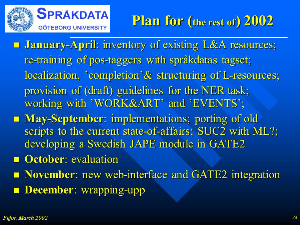 23 Fefor, March 2002 Plan for ( the rest of ) 2002 n January-April: inventory of existing L&A resources; re-training of pos-taggers with språkdatas ta