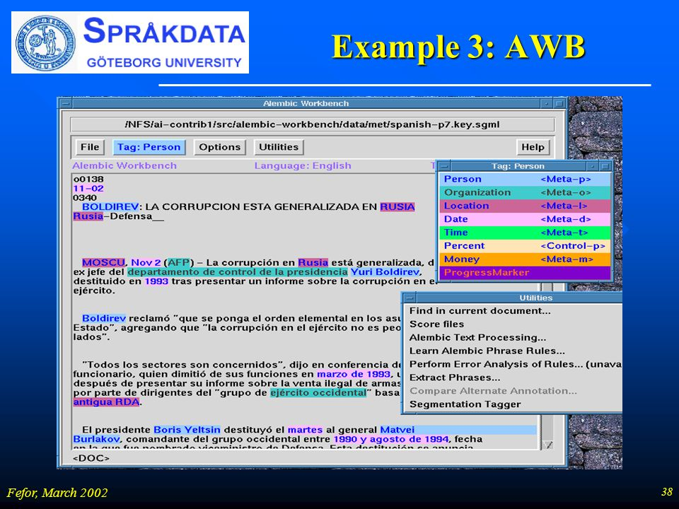 38 Fefor, March 2002 Example 3: AWB