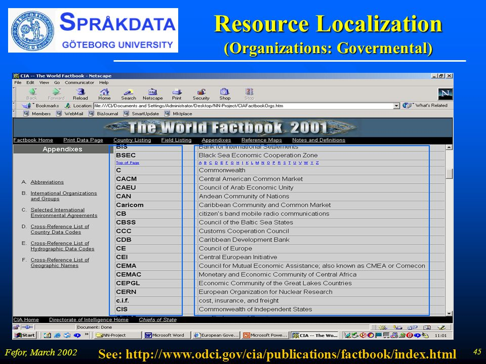 45 Fefor, March 2002 Resource Localization (Organizations: Govermental) See: http://www.odci.gov/cia/publications/factbook/index.html