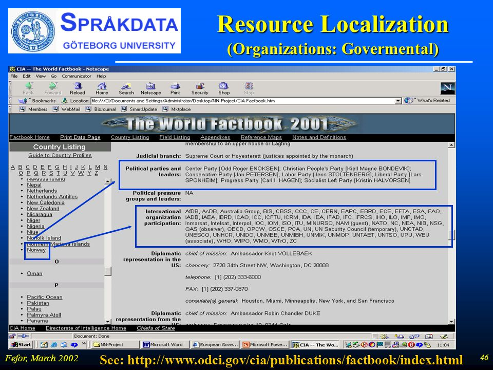 46 Fefor, March 2002 Resource Localization (Organizations: Govermental) See: http://www.odci.gov/cia/publications/factbook/index.html