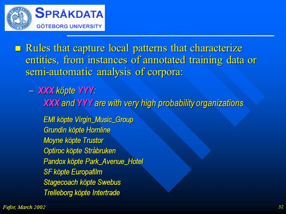 52 Fefor, March 2002 n Rules that capture local patterns that characterize entities, from instances of annotated training data or semi-automatic analysis of corpora: – XXX köpte YYY : XXX and YYY are with very high probability organizations EMI köpte Virgin_Music_Group Grundin köpte Hornline Moyne köpte Trustor Optiroc köpte Stråbruken Pandox köpte Park_Avenue_Hotel SF köpte Europafilm Stagecoach köpte Swebus Trelleborg köpte Intertrade